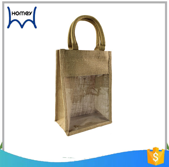 Wholesale customised jute beer bottle tote bags with window