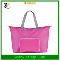 Custom promotional pink reusable zipper foldable shopping bags