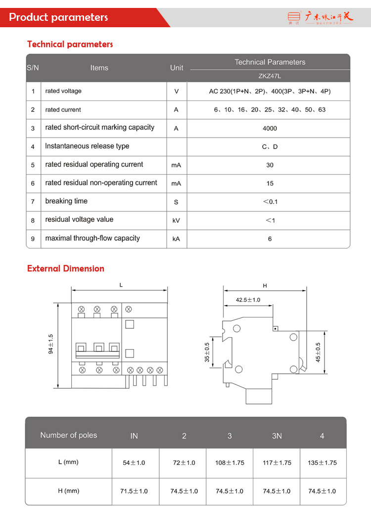 Zhujiang hot sell 3P 40A 50A 60A miniature circuit breaker mcb circuit breaker