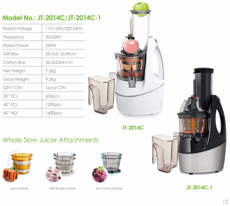 Newest Fashional Design 75mm Wide Food Chute Big Mouth Whole Electric Orange Fruit Slow Juicer ...