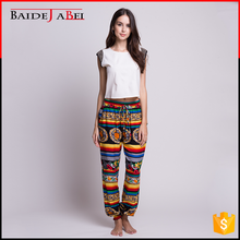 Wholesale promotional national printed long women's harem baggy yoga aladdin trousers pants