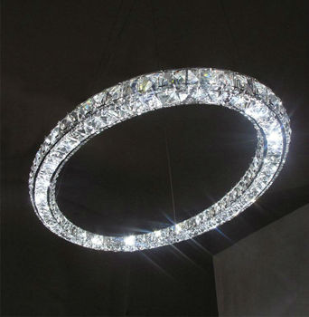 modern led oval crystal ring pendant lamp