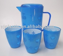 plastic water jug set with cup, hot water jug