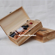 Durable rectagle wood packaging crates custom wooden wine boxes