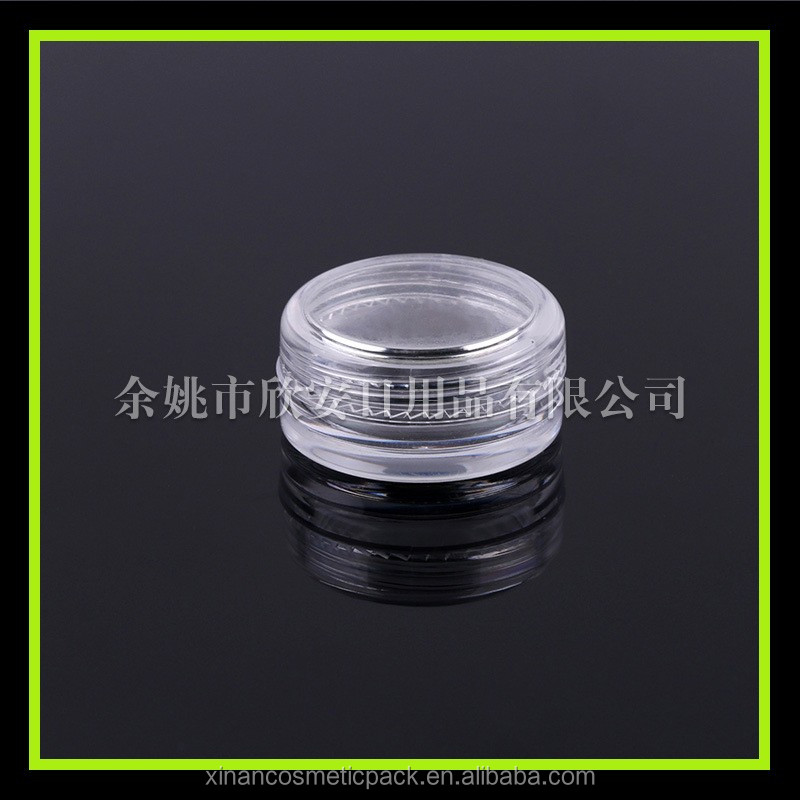 3g PS Small Sample Containers Mini Clear Plastic Cosmetic small ps jar