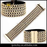fashion handmade gold,silver,black gun chain Weave magnet Bracelet Jewelry making