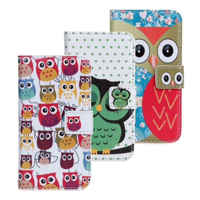 Owl print portfolio leather flip open case for iphone 4 4s