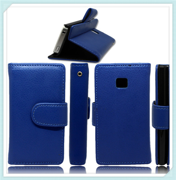 Loyal Blue Stand Flip Leather Case for LG E400 Optimus L3
