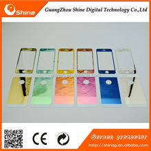 Mobile Phone Use For Iphone 4/4s/4c Color Mirror Tempered glass screen protector,front+back for Iphone 4/4s/4c