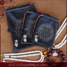 New Romantic Silk Screen Printing Black Drawstring Closure Leather Pouch for Jewelry