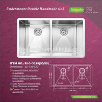 Used kitchen sinks for sale 304 stainless steel undermount rectangular double bowl kitchen sink with cupc certification