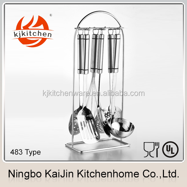 7pieces KJ-MT483 type, high quality different color plastic and stainless steel kitchen utensils