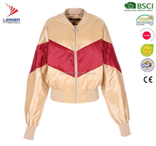 Woman winter ultra light contrast color down bomber jackets