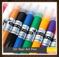 12 colors Unique design& pattern Nail Art Pen for drawing on nails