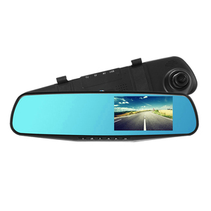 Hd 1080P Dual Lens Car Dvr 4.3 Inch Blue Convex Glass Blackbox Camera Car Cam Rear View Mirror