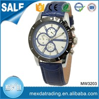 Men new fashion 44mm alloy case blue leather strap shenzhen watch
