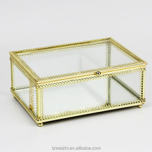 Decorative Clear Glass & Brass Tone Metal Slanted Top Lid Shadow Box Jewelry Chest / Storage Display Case