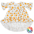 2017 Baby Cotton Frocks Designs Pineapples Print Middle Sleeve Dresses 0-6 Years Old Normal Girl Fancy Frocks