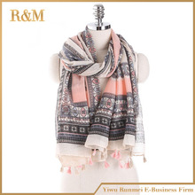 Hot selling fashion women voile polyester scarf