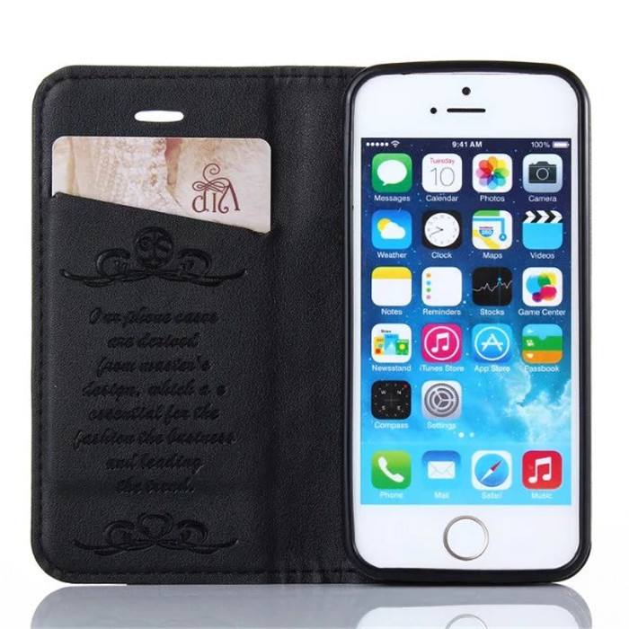 China factory wholesale magnetic card holder leather flip cover case for iPhone 5 SE 5S