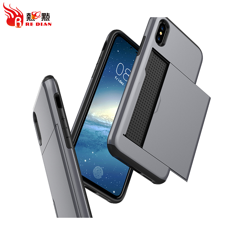tpu pc cover colorful case with card slot for iphone X,usa for iphone X case with credit card slot back cover