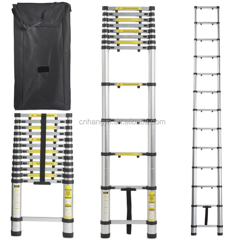 Aluminum Telescopic Ladder : Ft aluminum telescoping extension ladder telescopic