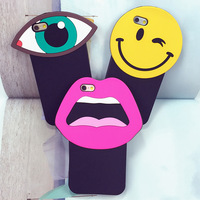 Luxury Korea Cute Cartoon Sexy Lips Big Eye Smiling Face Soft Silicone Case Cover For iPhone 6 6s 4.7inch
