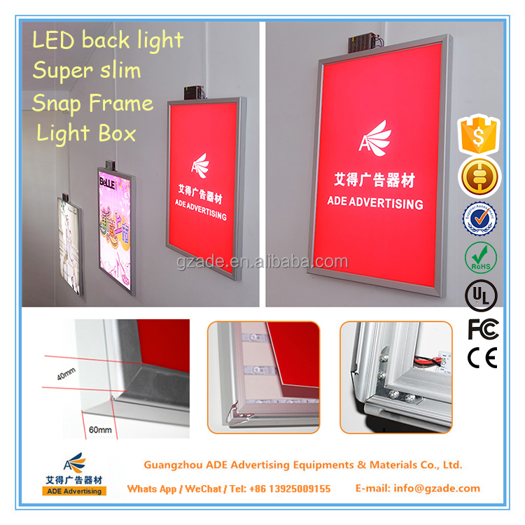 ADE LED backlight lighting poster clip frame in size 24x36 inches