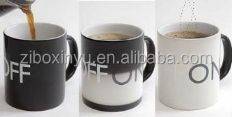 ZIBO XINYU XY-0637 Heat Sensitive Color Changing Ceramic Cup with Letter