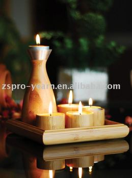 Bamboo Home Interior Candle Stand Holder Design for Light and Easter Christmas Holiday Decoration