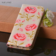 Mobile phones cover for girls For xiaomi redmi note 4 PU Leather Mobile Phone Case With flower Pattern