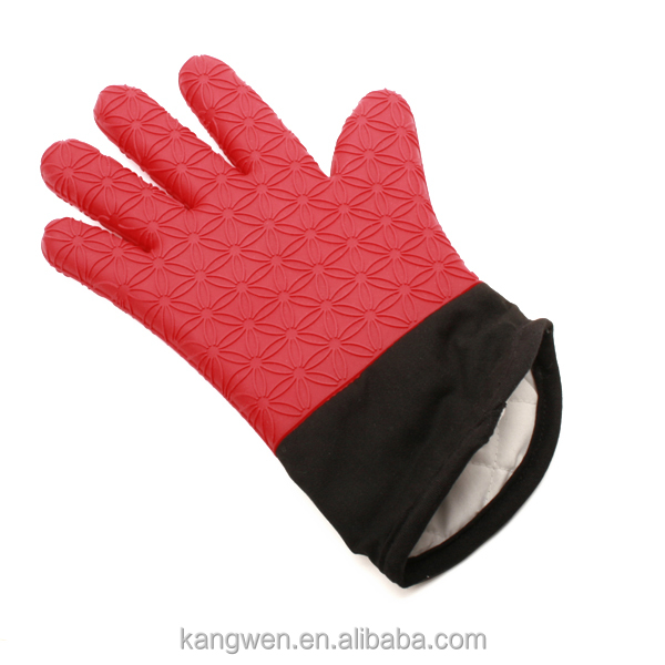 Christmas themed heat resistant glove oven mitts silicone finger pot holder / glove with fabric inside silicone