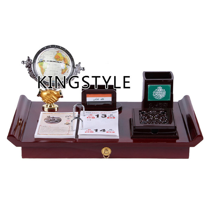Wooden craft gift business office desktop set decorations with pen holder and globe