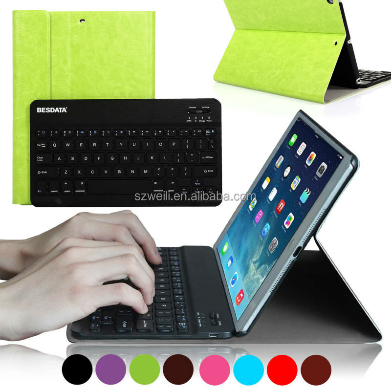 for iPad Air Keyboard Case folio Luxury Leather with Wireless Bluetooth keyboard