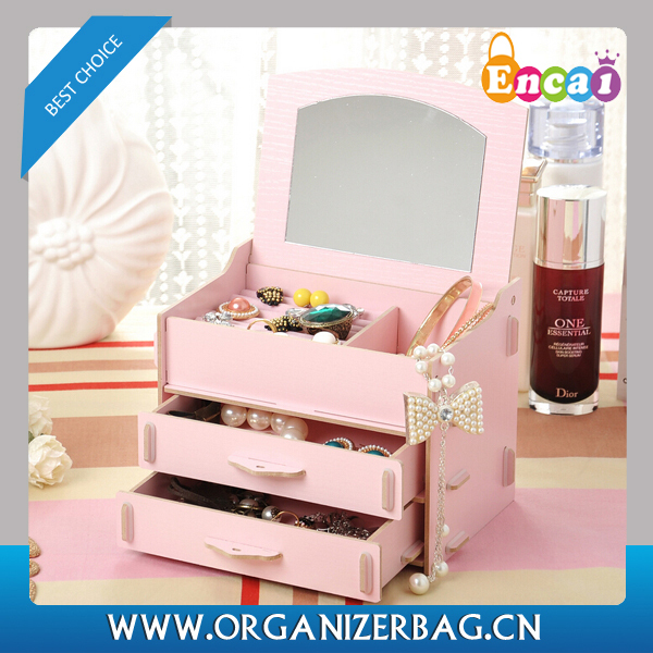 Encai Fashion DIY Cosmetic Storage Box With Drawer Wholesale Jewelry Organizer Rack With Mirror Candy Colour