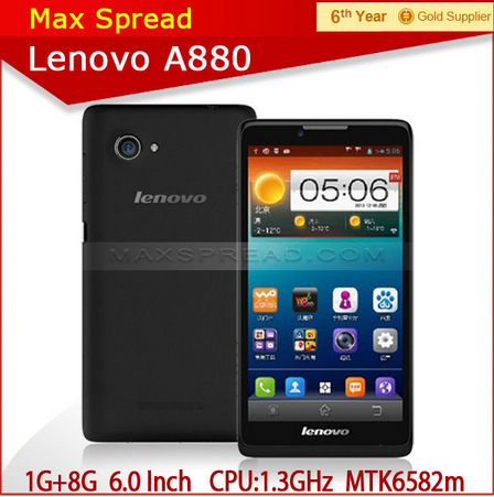 Original Lenovo A880 Android 4.2.2 MTK6582 Quad Core 1GB RAM Mobile Phone 6.0 Inch IPS 8GB ROM