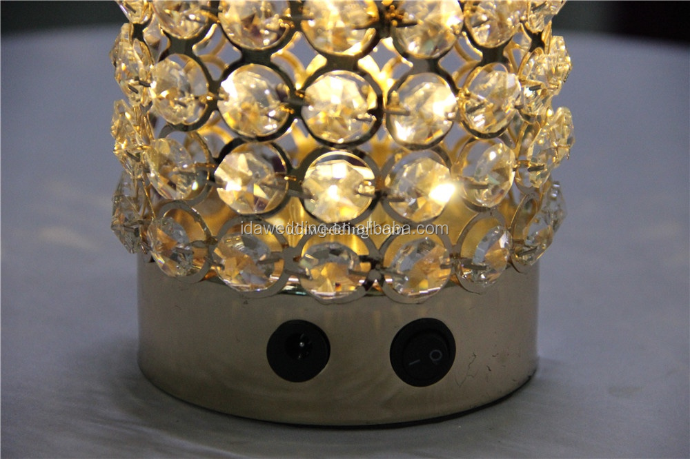 wedding favors crystal beaded led lighted gold candles holder