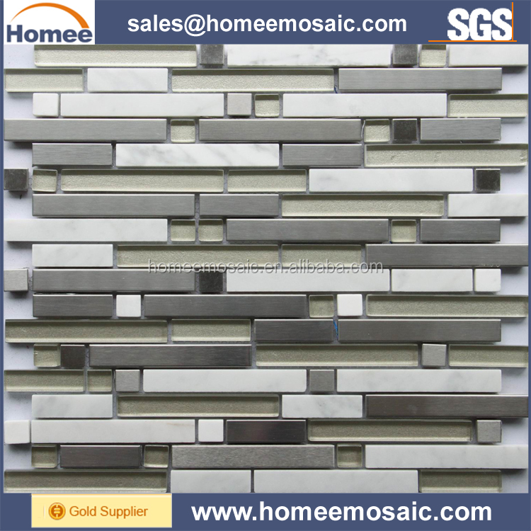 Strip Shape Stainless Steel Mix Stone and Glass Mosaic Tile