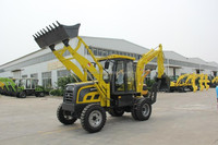 Skid steer with backhoe loader