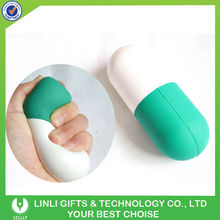 Pill shaped anti stress ball with logo printing