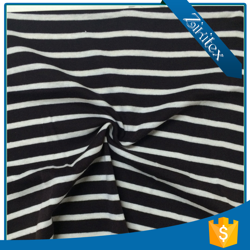 Customize black and white striped satin fabric