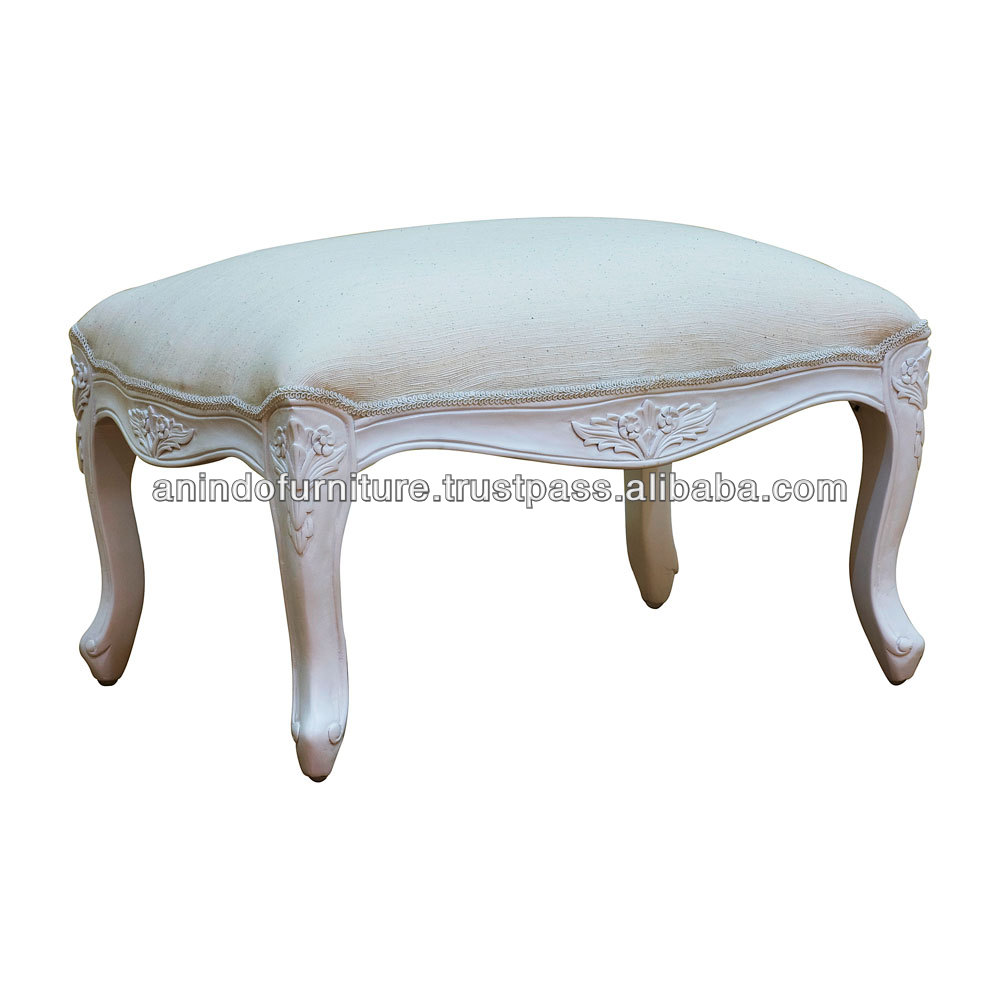 White Painted Low End Upholstered Stool Ottoman