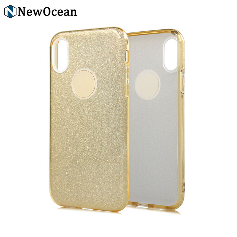 Fashion design quicksand 3 in 1 Shinning soft Bumper Bling Glitter mobile Case for iphone X