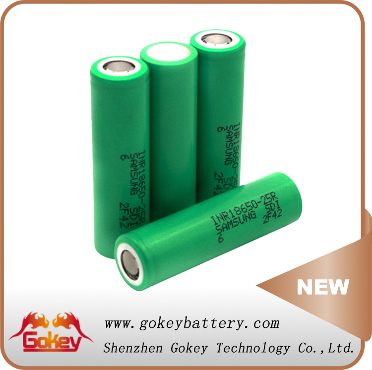 3.7v ICR 18650 Li-ion Rechargeable Battery Samsung 25R 2500mAh 30A 18650 Battery Specs