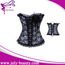 Floral Lace Pattern Ruffle Top Blue Open Hot Women Photo Sex Corset with flower