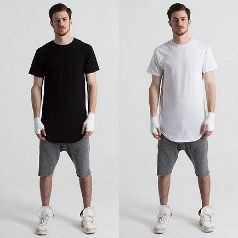 New Arrival Short Sleeve Hip Hop T Shirt LonglineTee Cotton Oversized T Shirt Men Extra Long T-Shirt Longline Tshirt