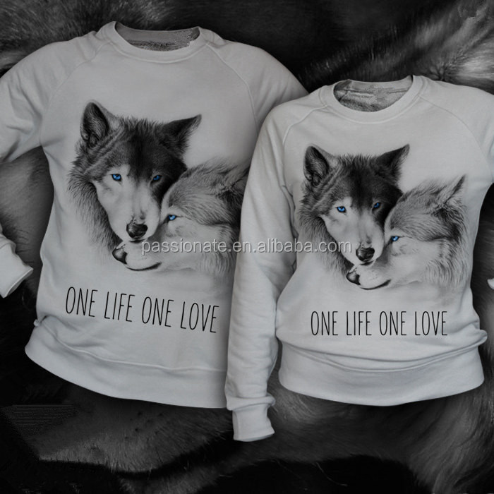 Wolf pattern one life one love long sleeve t shirt for couples