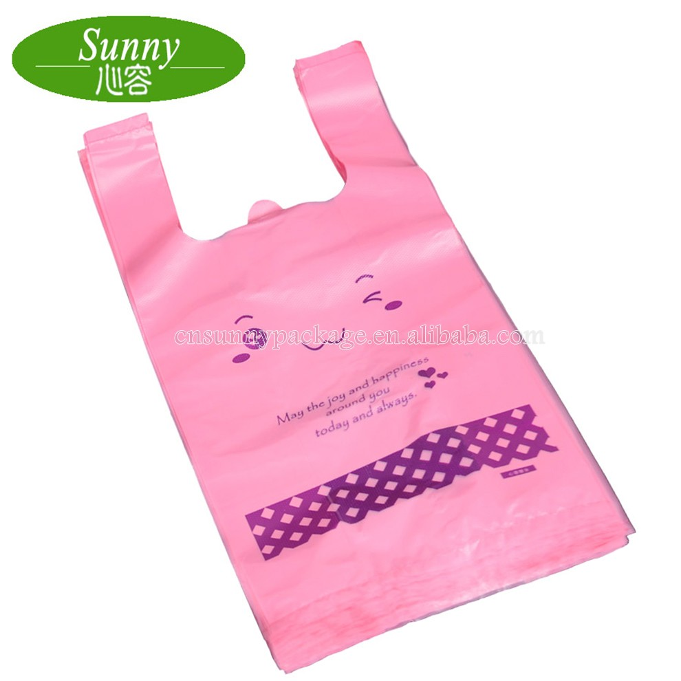 Hot Sale Custom Printed Pink T Shirt Plastic Bag Shopping Bag For Supermarket