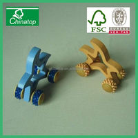 Mini Wooden 4 Rolling Wheels Arms Body Massager Roller