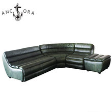 Green color genuine leather furniture modern classic sectional sofa with footrest